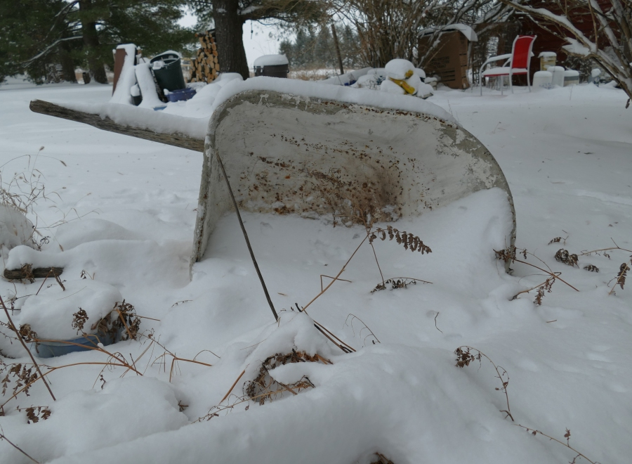 wheelbarrow with snow